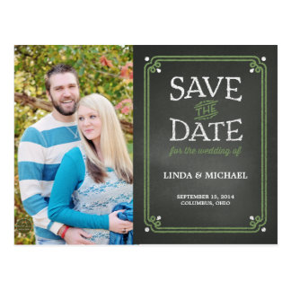 Olive and White Chalkboard Photo Save the Date Post Card