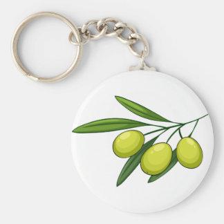 Olive Basic Round Button Keychain