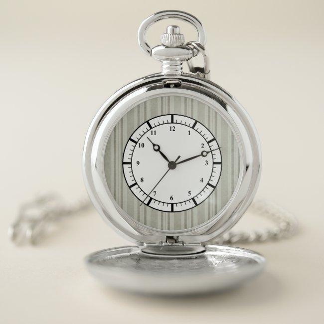 Olive Beige Striped Pattern Pocket Watch