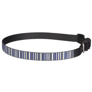 Olive blue pale yellow stripe pet collar