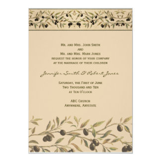 Olive Branch: A Tuscan Touch Wedding 5x7 Paper Invitation Card