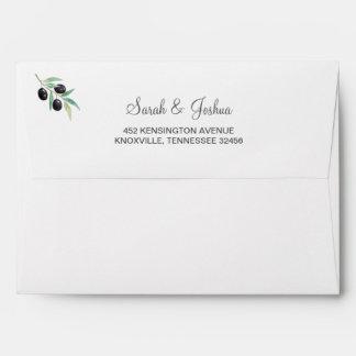 Olive Branch Botanical invitations envelopes