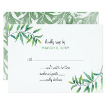 Olive Branch Botanical wedding invitations rsvp