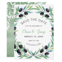 Olive Branch Botanical wedding save the date cards