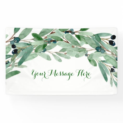 Olive Branch Floral Bridal Shower Banner