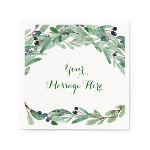 Olive Branch Floral Bridal Shower Paper Napkin