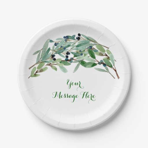 Olive Branch Floral Bridal Shower Paper Plate