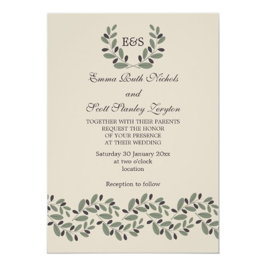 Together With Their Parents Wedding Invitation: Olive Branch Garland And Wreath Wedding Card