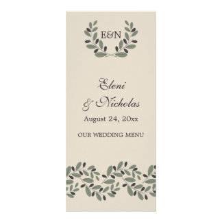 Olive branch garland and wreath wedding menu card personalized rack card