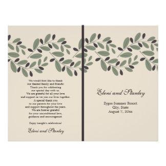 Olive branch garland and wreath wedding program
