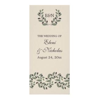 Olive branch garland and wreath wedding program rack card design
