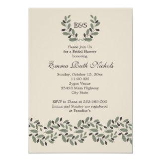 Olive branch garland wedding bridal shower 5x7 paper invitation card