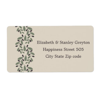 Olive branch garland wedding shipping label