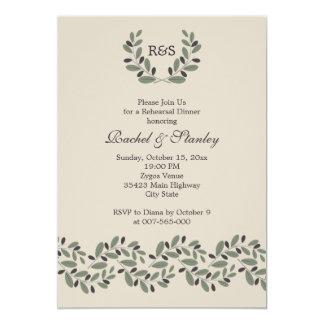 Olive branch garland wedding rehearsal dinner card