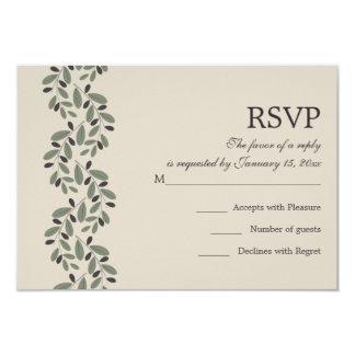 Olive branch garland wedding RSVP reply Card