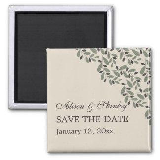 Olive branch garland wedding Save the Date Fridge Magnet