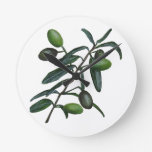 Olive branch round clock