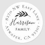 """Olive Branch Round Return Address Label<br><div class=""""desc"""">Custom return address stickers personalized with your family monogram and address. Use the design tools to change the background color and fonts to further customize your own unique design.</div>"""