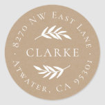"""Olive Branch Round Return Address Label<br><div class=""""desc"""">Custom return address stickers personalized with your family monogram and address on a faux kraft paper background. Use the design tools to change the background color and fonts to further customize your own unique design.</div>"""