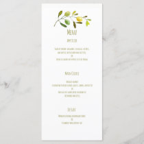 Olive branch watercolor wedding menu