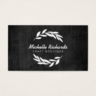 Olive Branch Wreath Logo on Black Wood Business Card