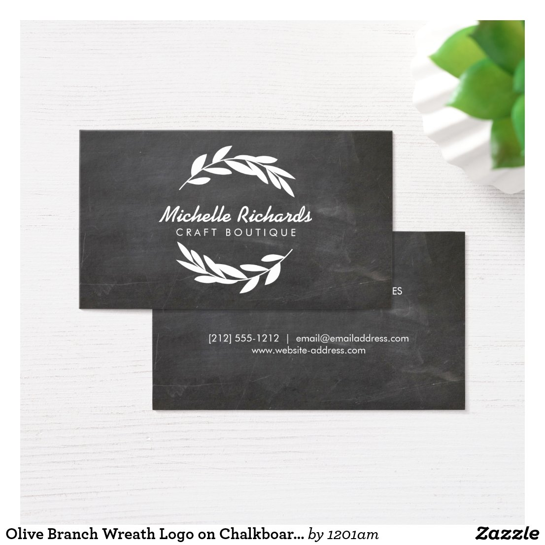 Olive Branch Wreath Logo on Chalkboard Background Business Card