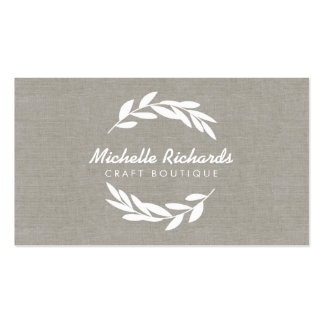 Olive Branch Wreath Logo on Linen Business Card Pack Of Standard Business Cards