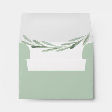 Olive Branch Wreath Pre-Printed Address RSVP Envelope