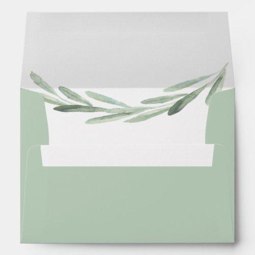 Olive Branch Wreath Pre-Printed Return Address 5x7 Envelope