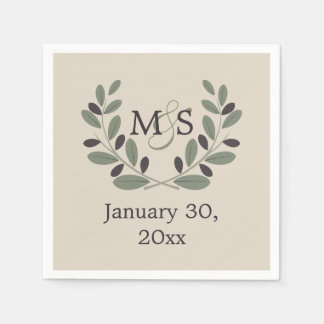 Olive branch wreath with initials wedding disposable napkin
