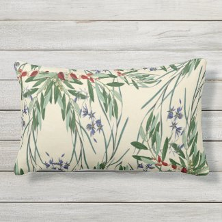 Olive Branches and Blue Flowers Lumbar Pillow