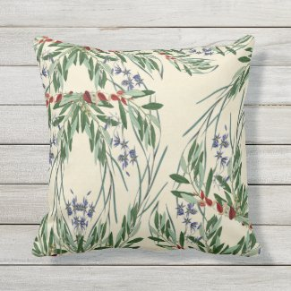 Olive Branches and Blue FlowersThrow Pillow 16x16