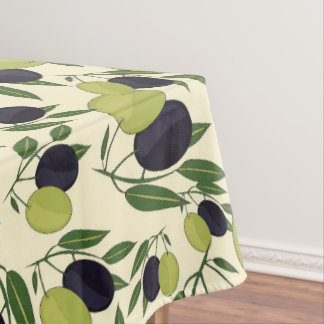 Olive Branches On Off White Leaves Olives Green Tablecloth