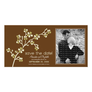 Olive/Brown Cherry Blossom Save the Date Photocard Card