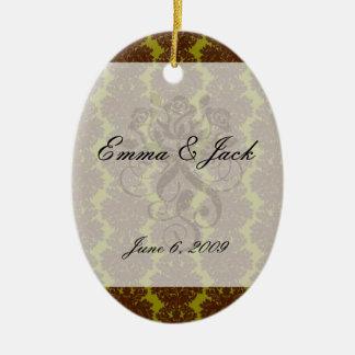 olive brown formal damask ceramic ornament