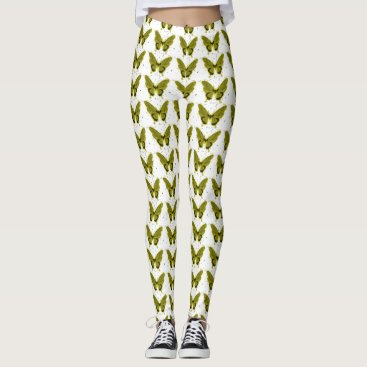 Professional Business Olive-Butterfly--FUN-DESIGN'S (c) -LEGGING'S_XS-XL Leggings