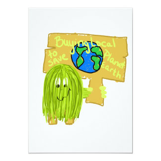 Olive Buying local to save planet earth 5x7 Paper Invitation Card