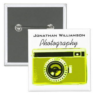 Olive Camera Photography Business 2 Inch Square Button