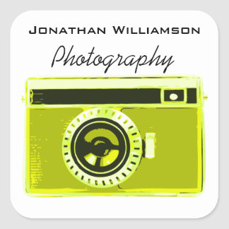 Olive Camera Photography Business Square Sticker