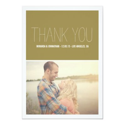 Olive Chic Photo Wedding Thank You Cards