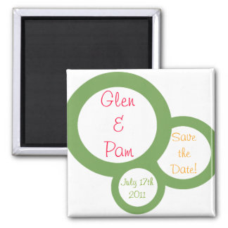 "Olive Circles ""Save the Date"" Magnet"