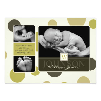Olive Dot Print Birth Announcement