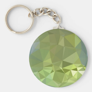 Olive Drab Abstract Low Polygon Background Keychain