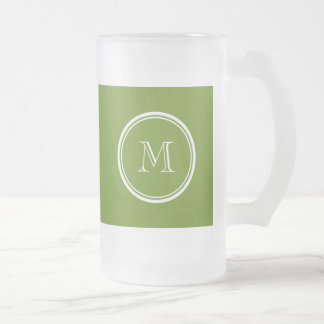 Olive Drab High End Colored Frosted Glass Beer Mug