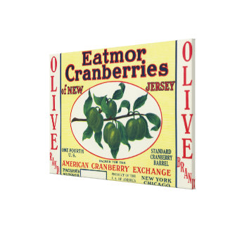 Olive Eatmor Cranberries Brand Label Gallery Wrap Canvas