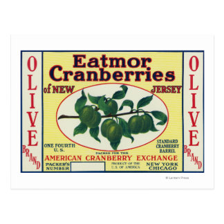 Olive Eatmor Cranberries Brand Label Post Card