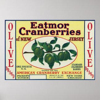 Olive Eatmor Cranberries Brand Label Poster