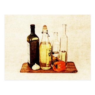 Olive evoo oil bottles and veggies postcard