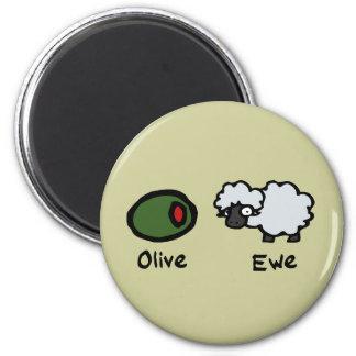 Olive Ewe 2 Inch Round Magnet