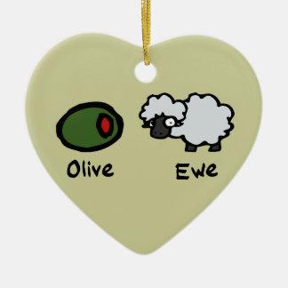 Olive Ewe Ceramic Ornament